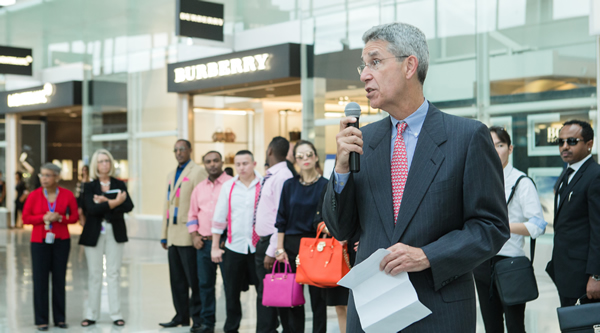 MarketPlace Development President Paul McGinn hails the new line-up of high-end brands at the inauguration, which was accompanied by a fashion show on the concourse at Dulles